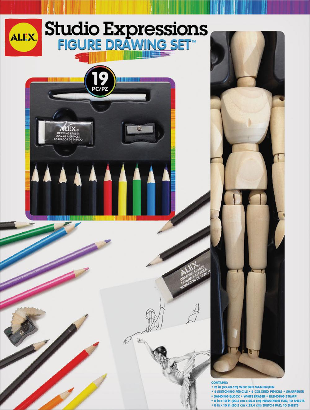 Ensemble de dessin avec mannequin en bois