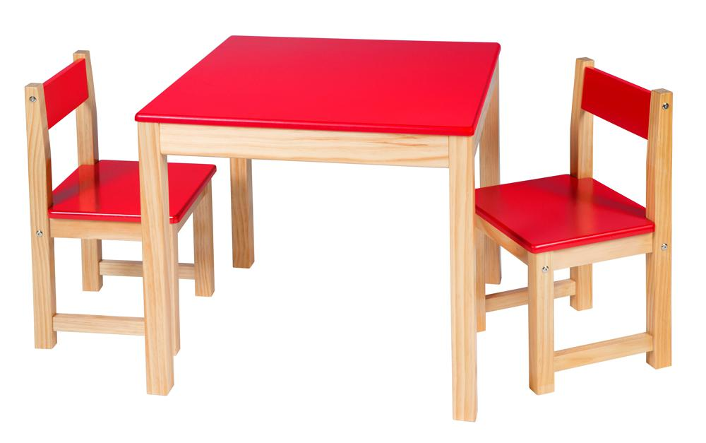 Wooden Table and Chair Set - Red