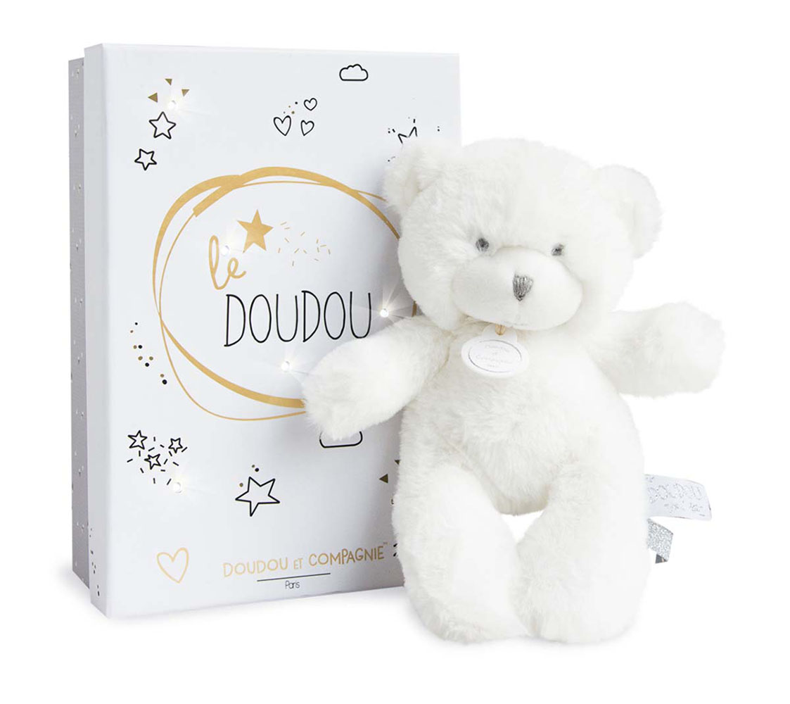 Doudou Tendre-Ours Pantin Blanc 20 cm