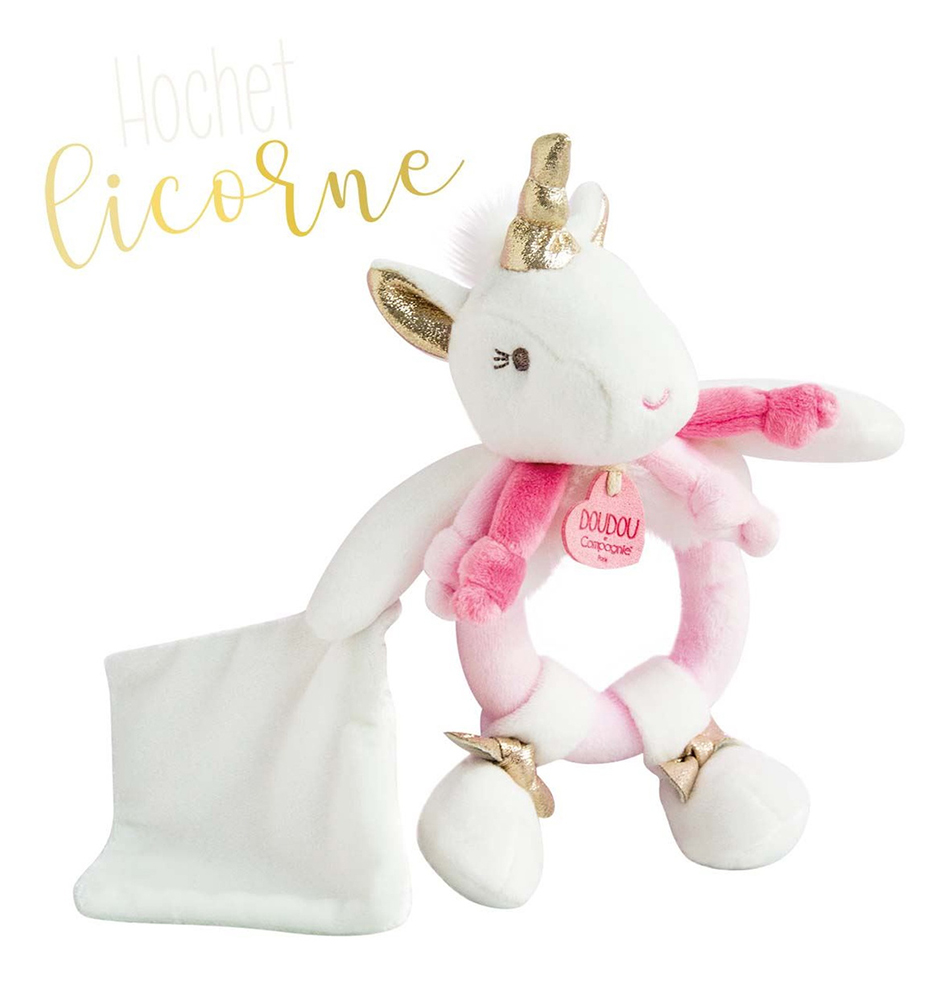 Ma jolie licorne - Rattle with doudou 17 cm