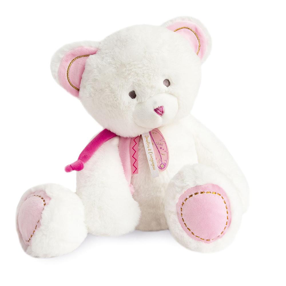 Doudou Boheme - Plush bear pink 40 cm