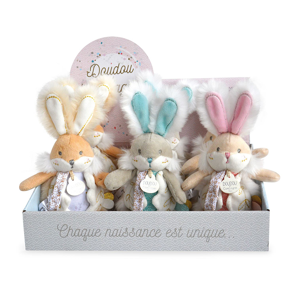 Doudou Bunny White - Dummy holder with rattle 21 cm assorted