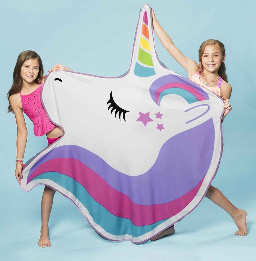 3C4G- Jumbo Beach Shaped Towel 59x49'' Unicorn