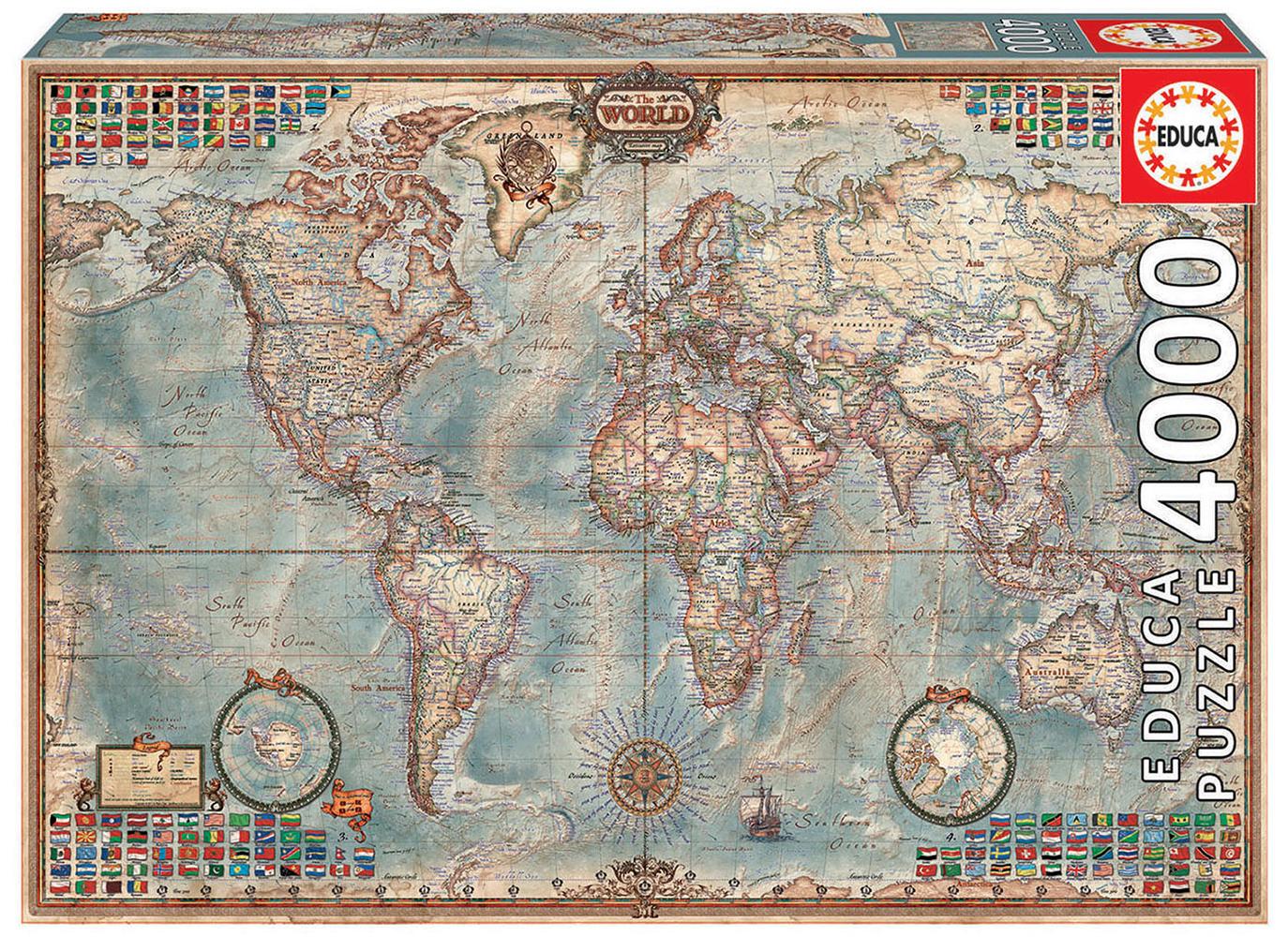 Casse-tête 4000 pièces Le monde carte politique