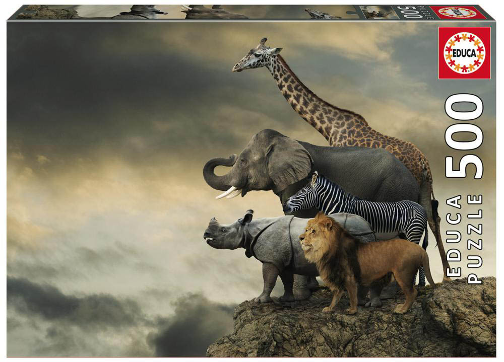 500 pieces puzzle - Animals on Edge of a Cliff