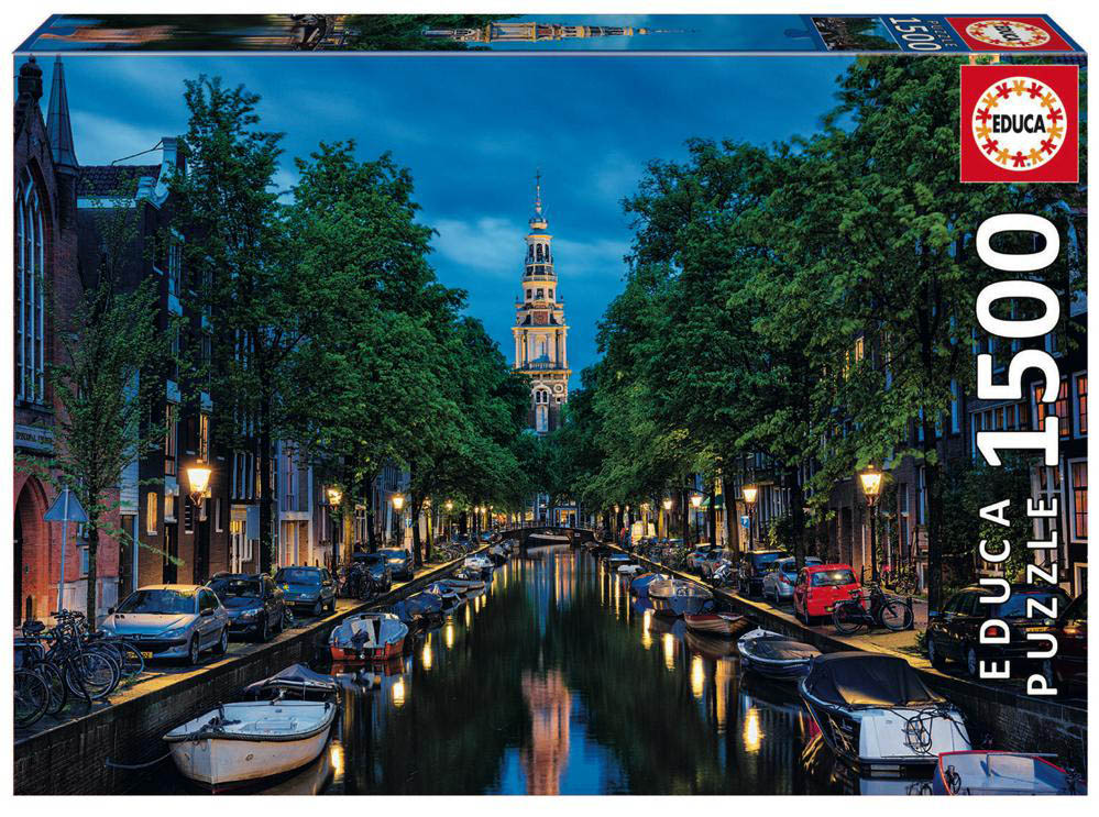 1500 pieces puzzle - Amsterdam Canal at Dusk