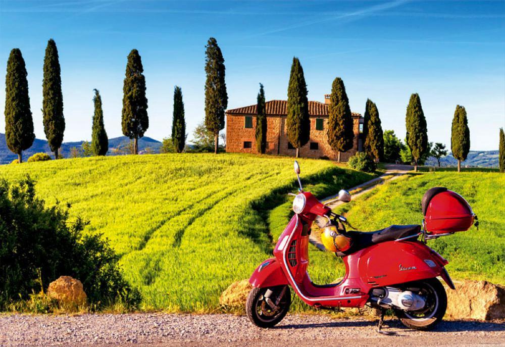 Casse-tête 1500 pièces Toscane en scooter