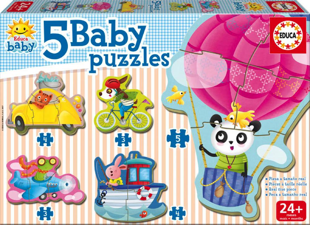 5 Baby Puzzles - Animals on Wheels