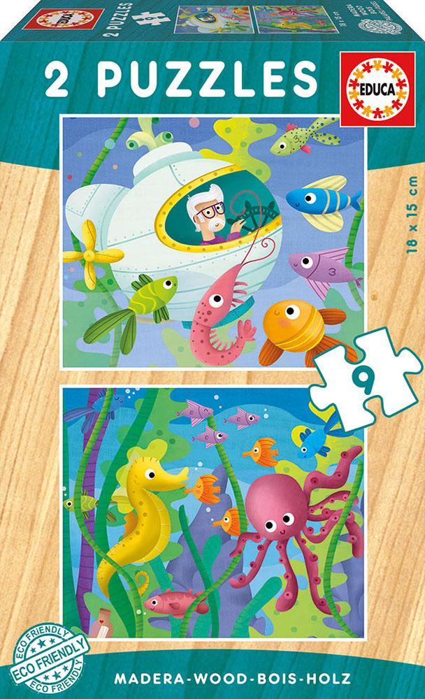Casse-tête en bois 2X9 pièces Animaux Aquatiques