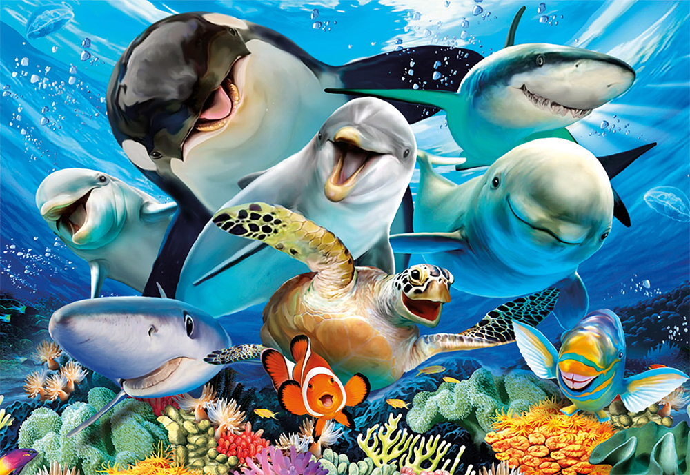 500 pieces puzzle - Underwater selfie