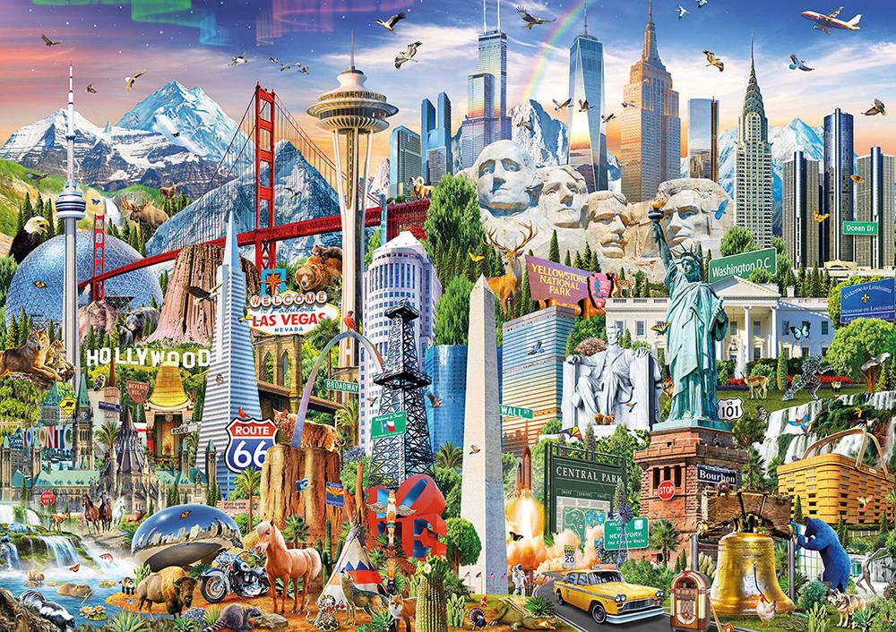 1500 pieces puzzle - North America Landmarks