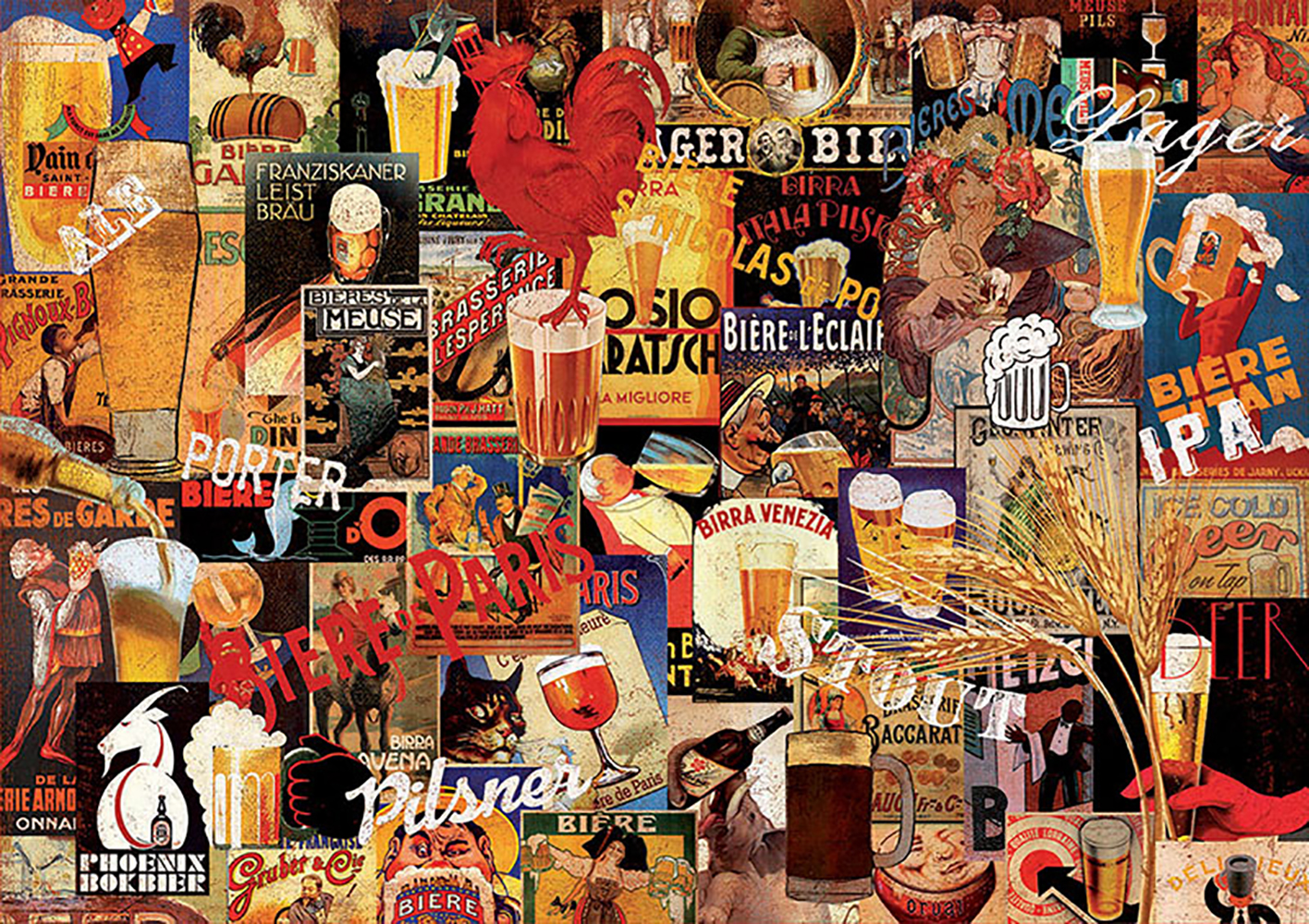 1000 pieces puzzle - Vintage Beer Collage