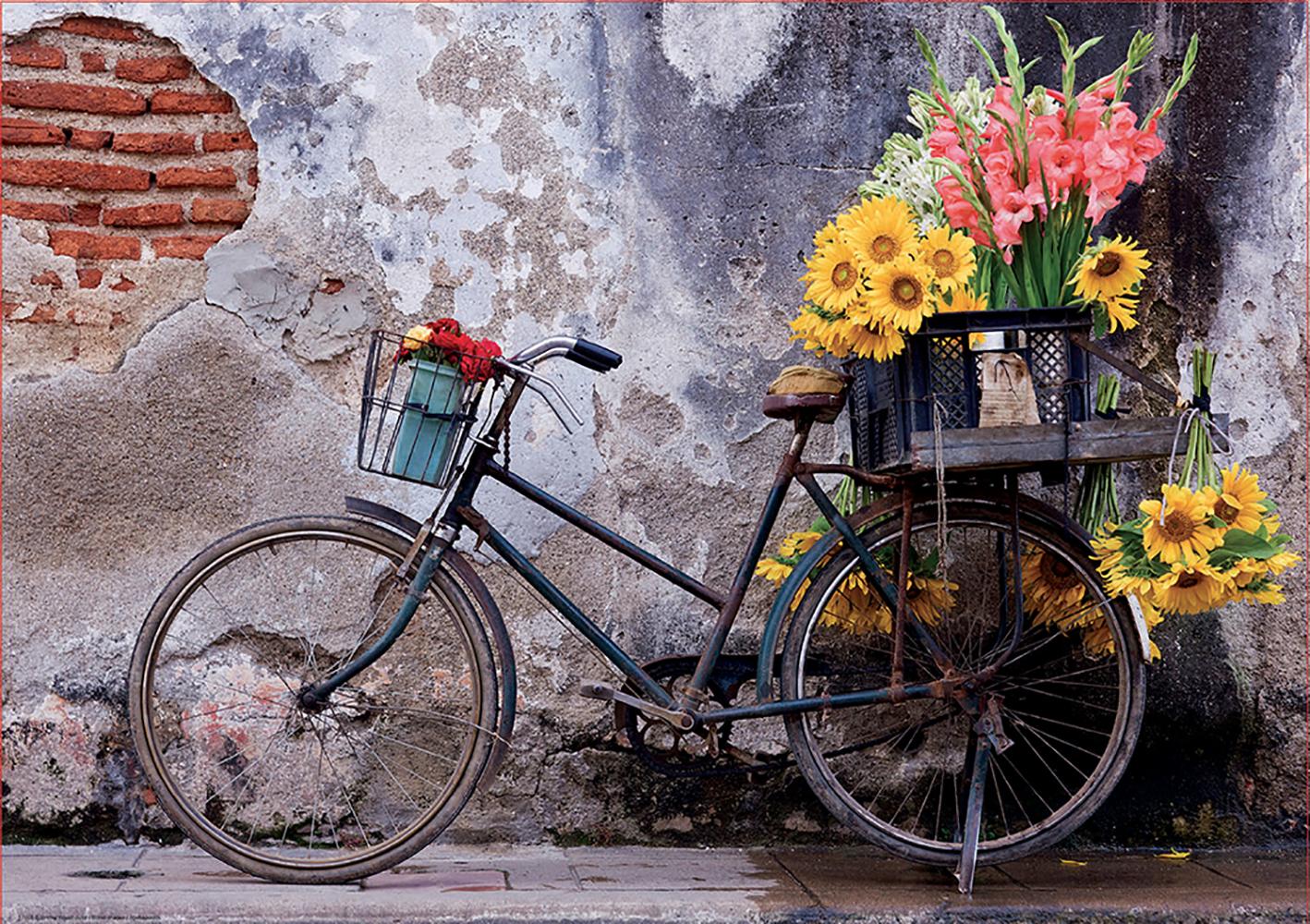 Casse-tête 500 pièces Bicyclette avec des fleurs