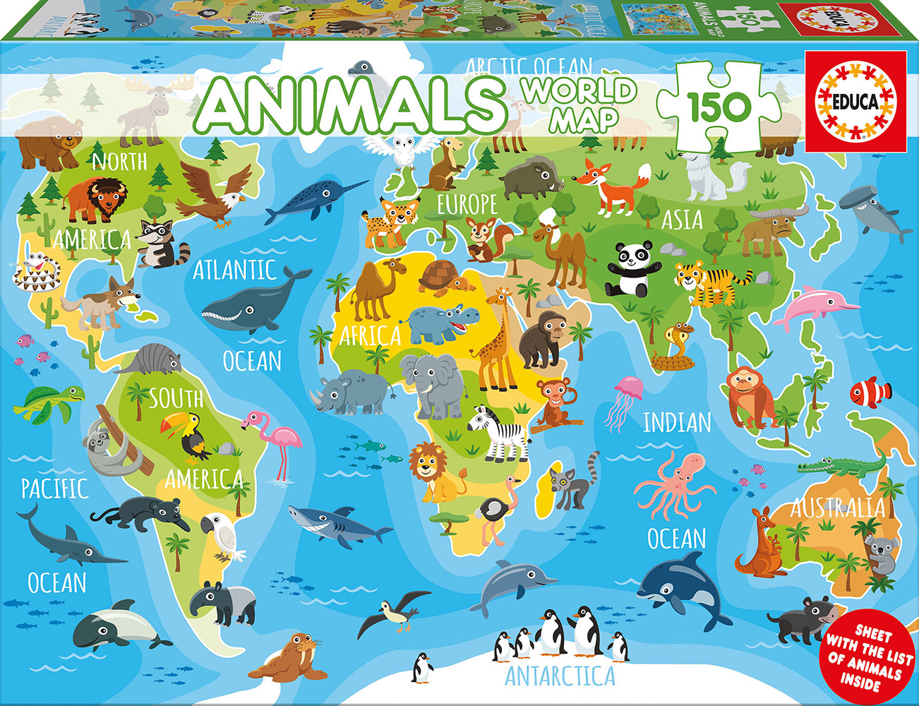 150 pieces puzzle - Animals World Map