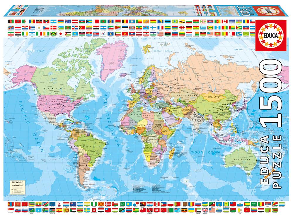 1500 pieces puzzle - Political Worldmap