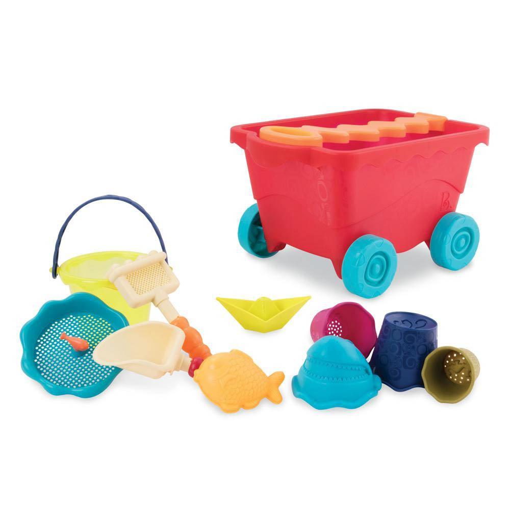 Chariot de plage rouge clair et accessoires