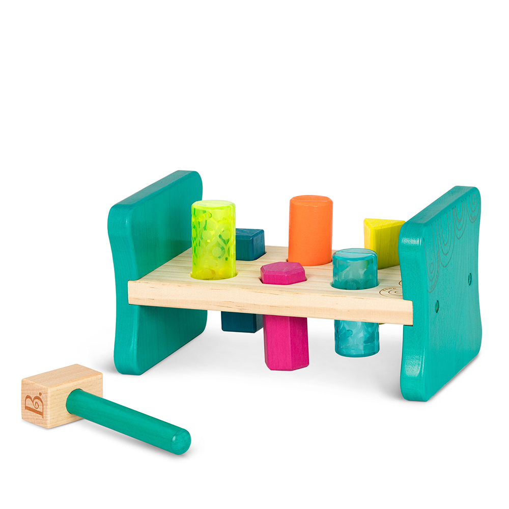 B.Woody - Colorfull Pound & Play - Wooden toy bench