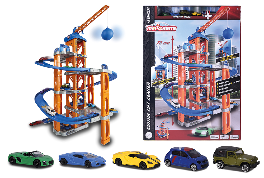 Majorette - Motor Lift Center Garage with 5 cars