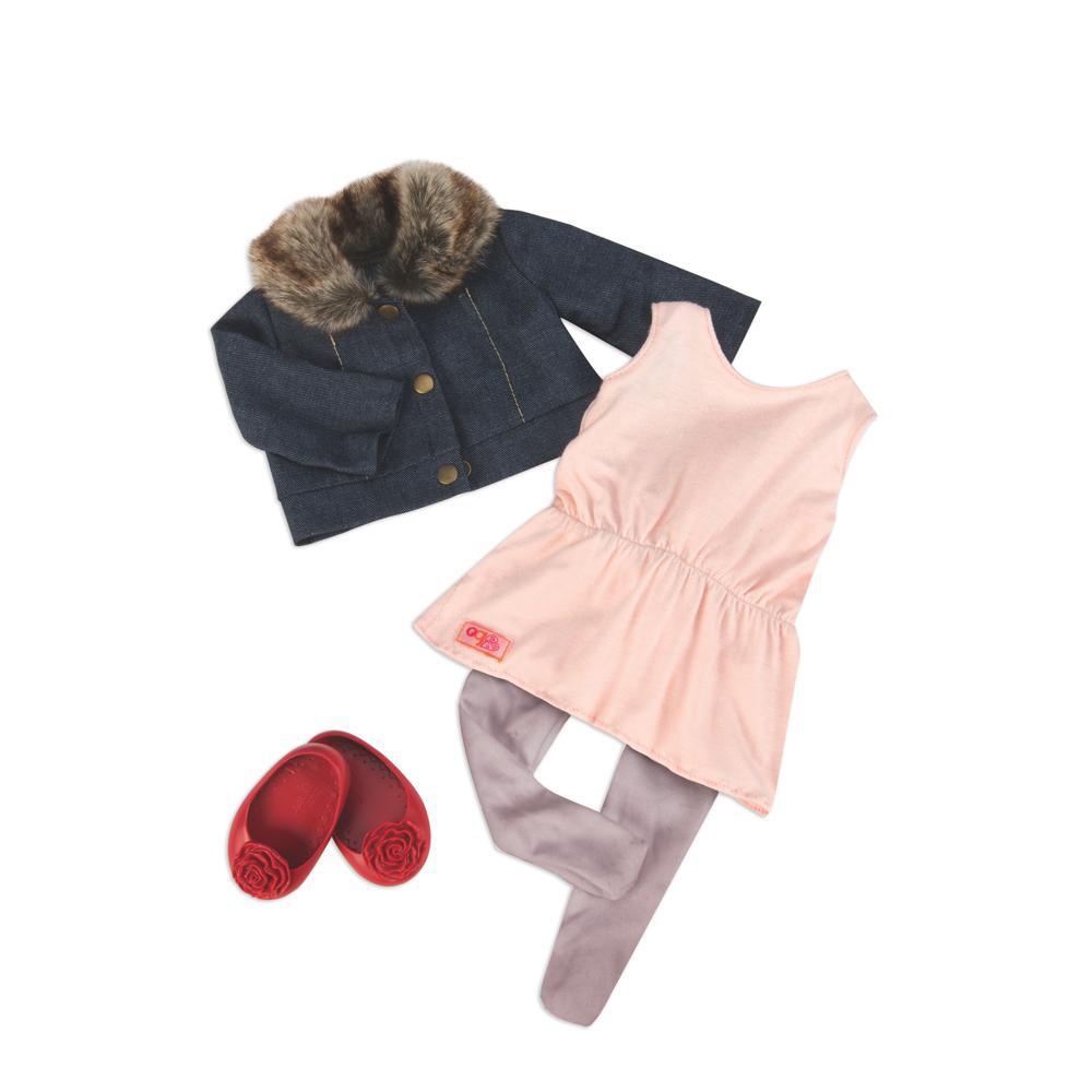 Ensemble Robe et veste col de fourrure Just Fur You pour poupée OG de 46 cm