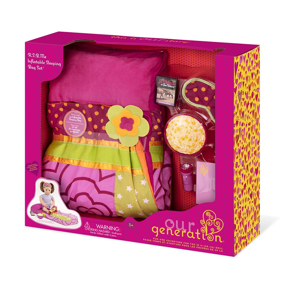 Ensemble gonflable et sac de couchage pour poupée OG de 46 cm