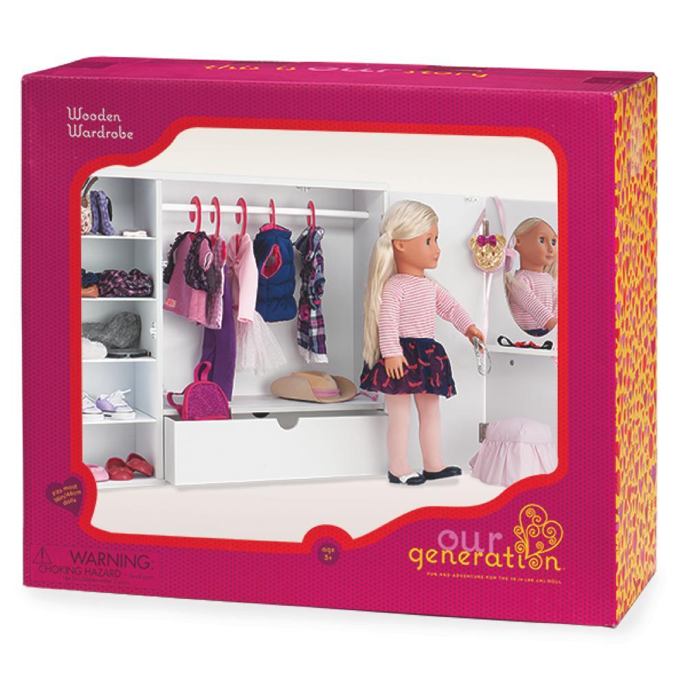 Wooden Wardrobe for 18 OG doll