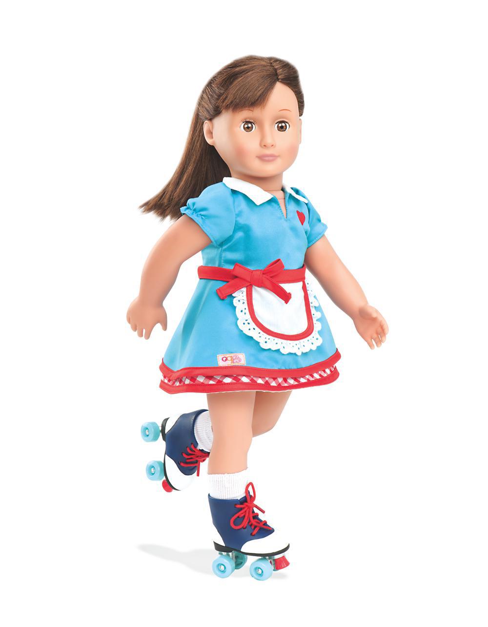 Ensemble de luxe rétro Serveuse à roulettes Soda Pop Sweetheart pour poupée OG de 46 cm