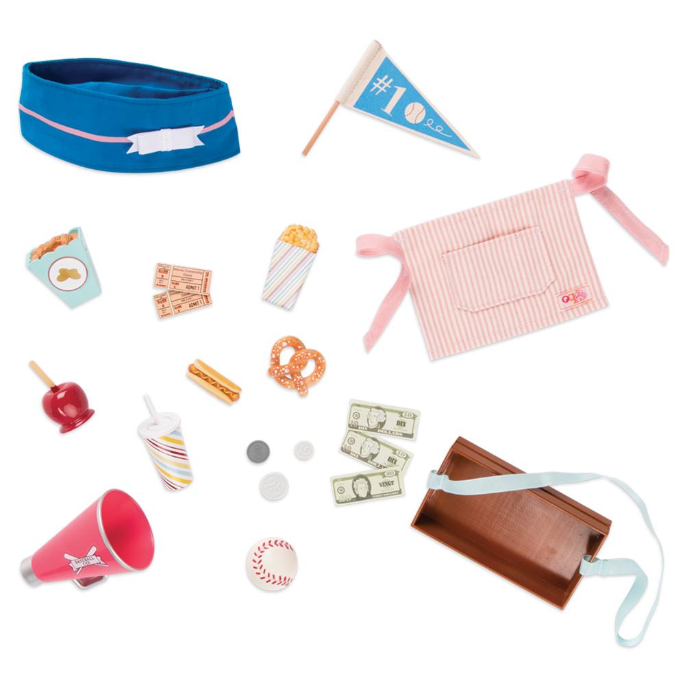 Ensemble d'accessoires rétro Out to the Ballgame pour poupée OG de 46 cm