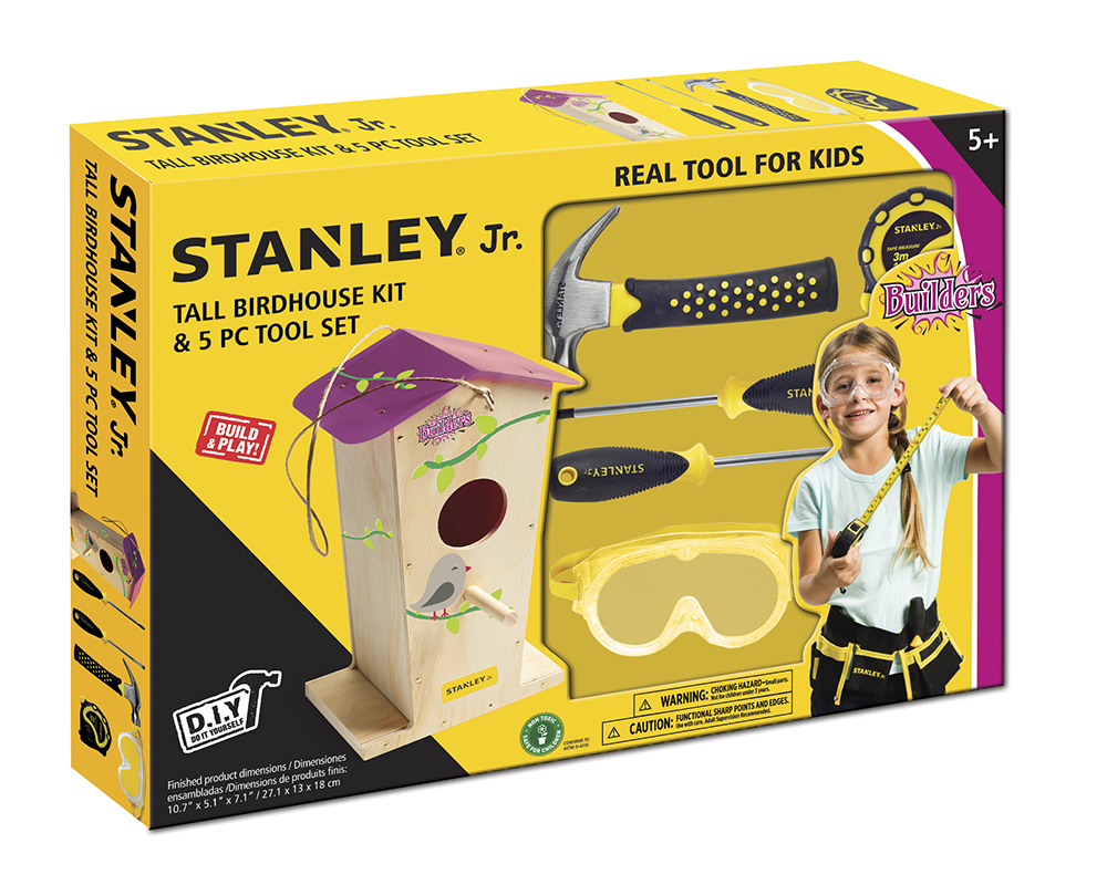 Stanley Jr. - Tall Birdhouse and 5 pieces Tool kit Pink