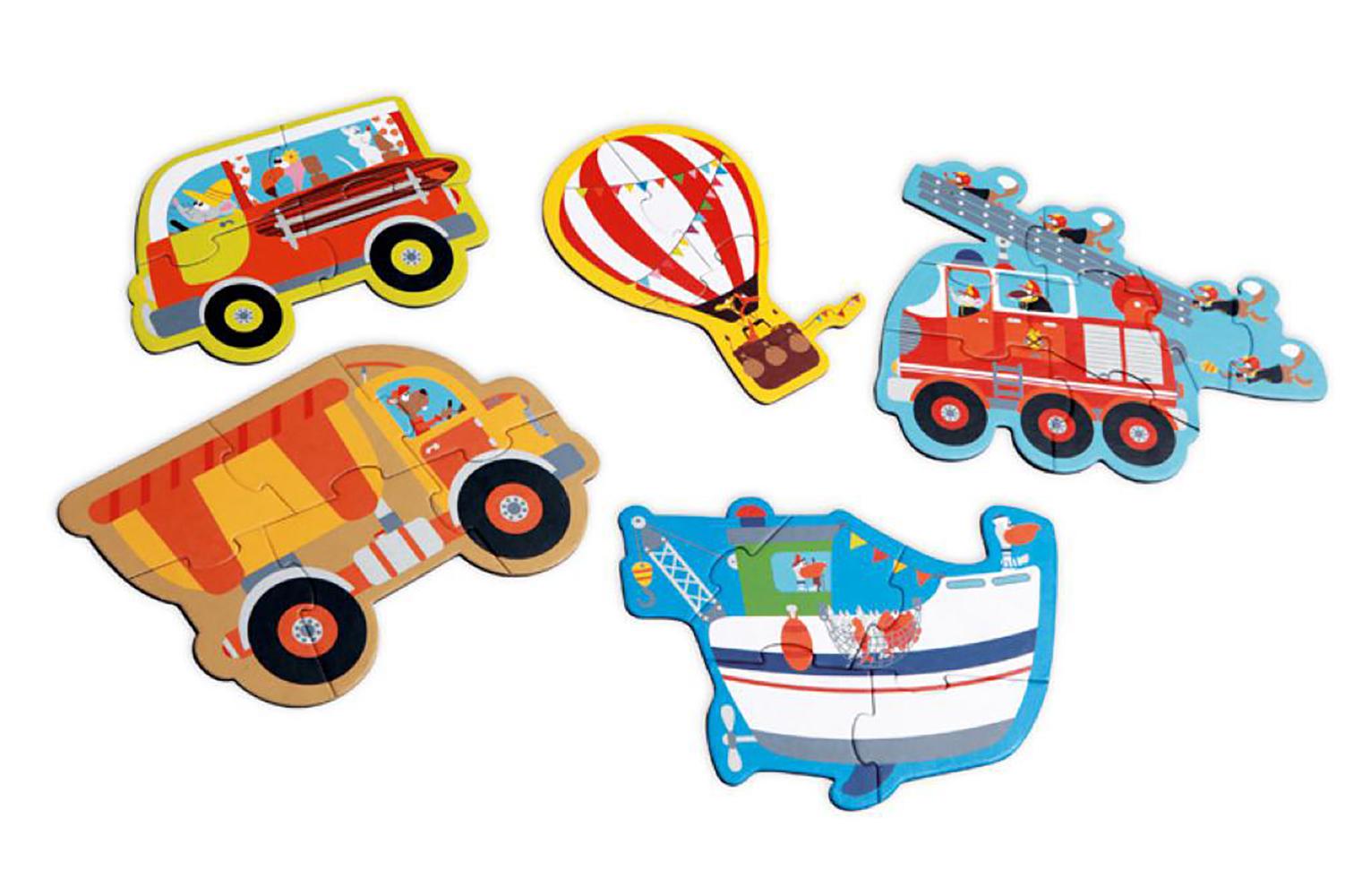 Puzzles Vehicles 3-4-5-6-8 pieces