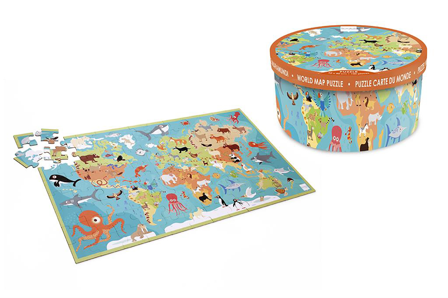 Scratch - XXL Puzzle Animal of the world 100 pieces