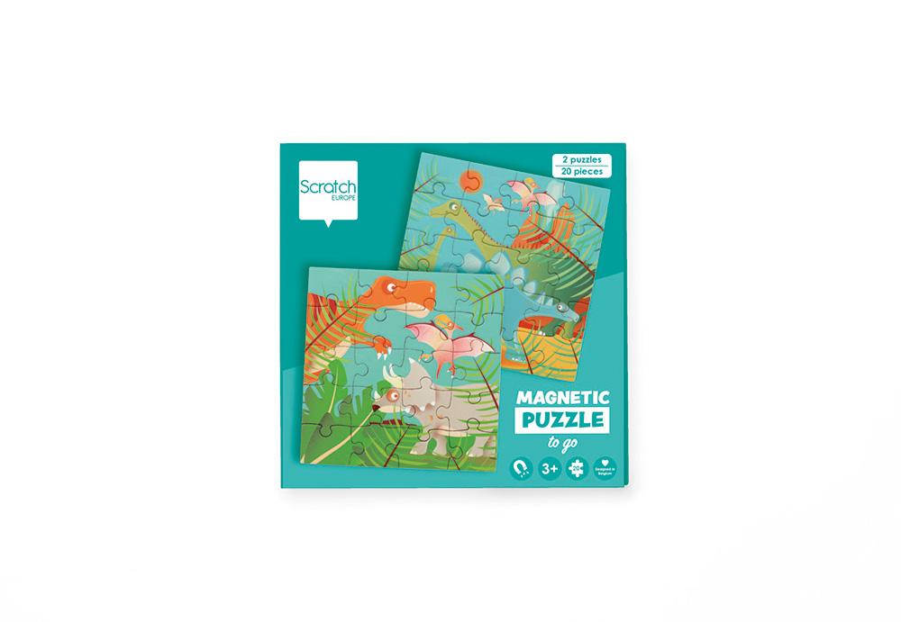 Scratch - Magnetic Puzzle Book to go Dinosaurs 20 pieces