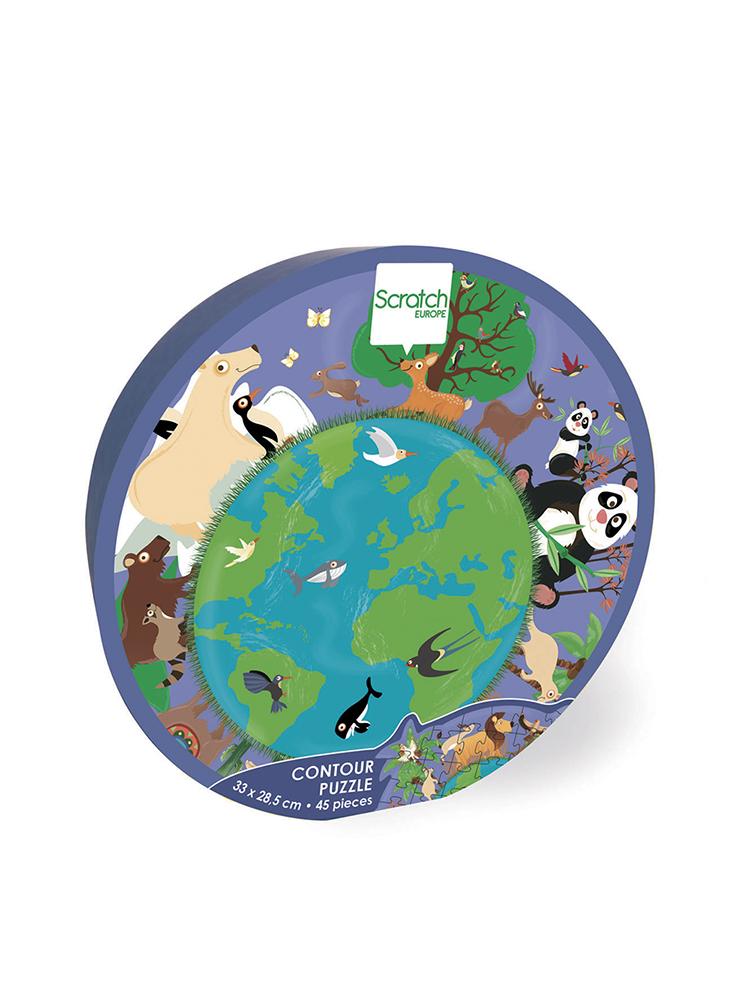 Scratch - Contour Puzzle World 45 pieces
