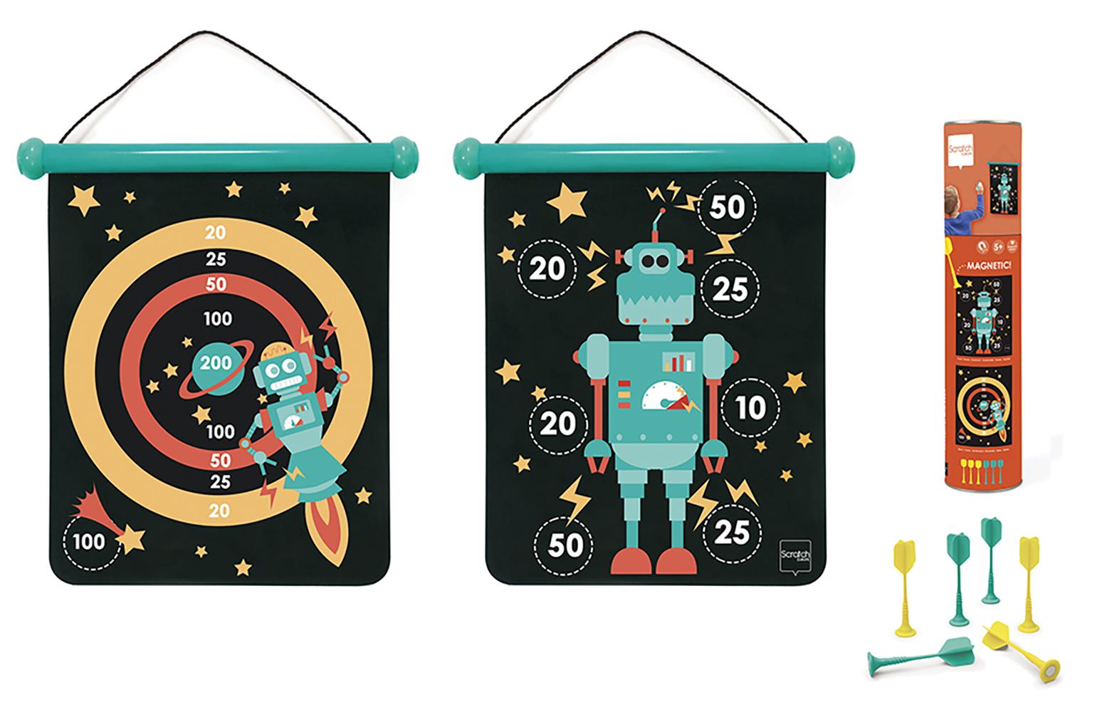 jeu de dards magn tiques double face robot scratch. Black Bedroom Furniture Sets. Home Design Ideas