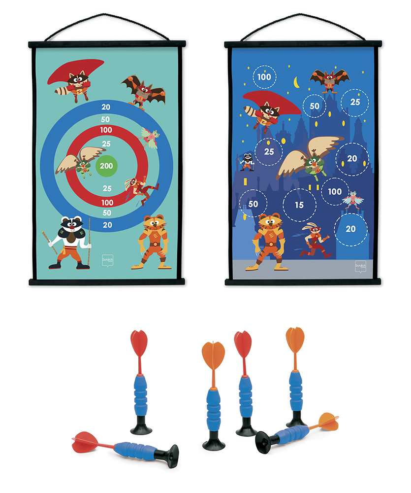 Double sided Start to Dart Superheroes game