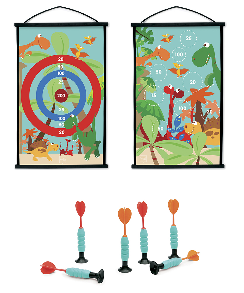 Double sided Start to Dart Dino World game