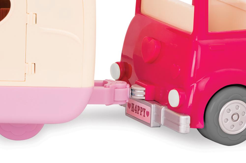 Li'l Woodzeez - Pink car with suitcase